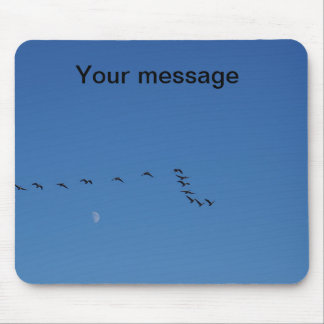 Canadian geese in flight mouse mat