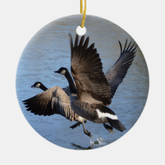 Canadian Geese Taking Flight Christmas Ornament
