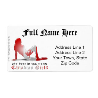 Canadian Girl Silhouette Flag Shipping Label