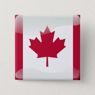 Canadian glossy flag 15 cm square badge