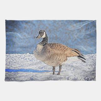 Canadian Goose in the snow Tea Towel