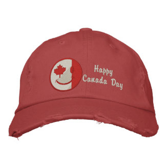Canadian Happy Face Eh Team Embroidered Baseball Caps