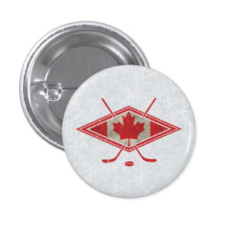 Canadian Hockey Flag Logo Button