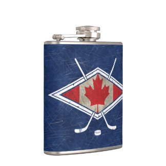 Canadian Hockey Flag Logo Hip Flask