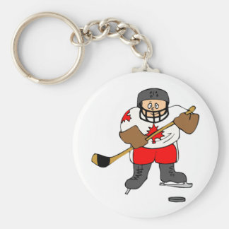 Canadian Hockey Player Basic Round Button Key Ring