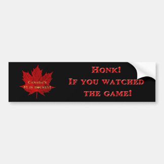 Canadian Hockey Pride-Red Maple Leaf Bumper Sticker