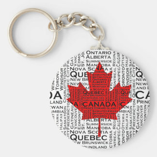 Canadian Leaf w/ City & States Background Basic Round Button Key Ring