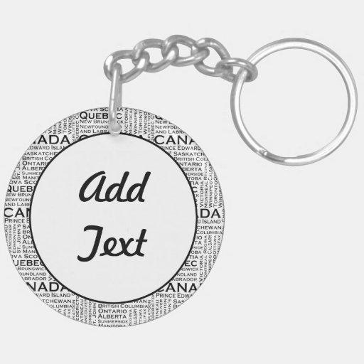 Canadian Leaf w/ City & States Background Keychain