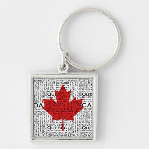 Canadian Leaf w/ City & States Background Key Chains