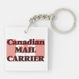 Canadian Mail Carrier Double-Sided Square Acrylic Key Ring