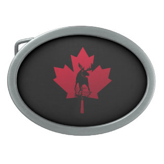 Canadian Maple Leaf and Moose Oval Belt Buckle