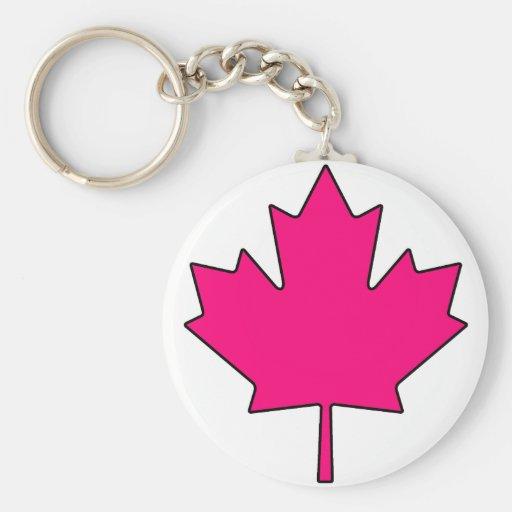Canadian Maple Leaf Canada National Symbol Basic Round Button Key Ring