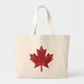Canadian Maple Leaf (Distressed) Large Tote Bag