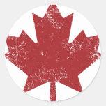 Canadian Maple Leaf (Distressed) Round Sticker