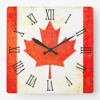 Canadian maple leaf flag roman numeral wall clock