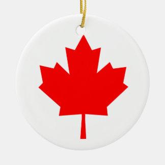 Canadian Maple Leaf Round Ceramic Decoration