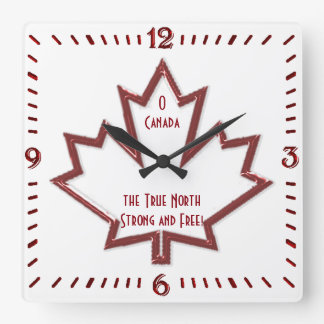 Canadian Maple Leaf Square Wall Clock