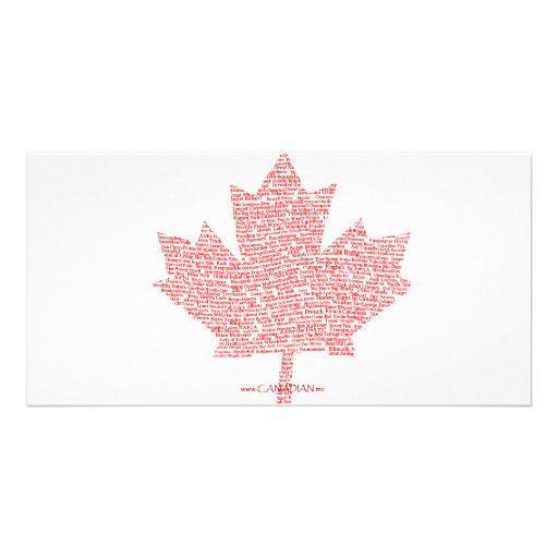Canadian Maple Leaf Style Customized Photo Card