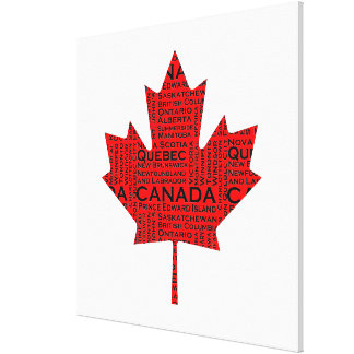 Canadian Maple Leaf w Text Gallery Wrapped Canvas