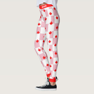 Canadian Maple on Chequered Pink Pastel Leggings