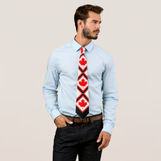 Canadian Maple on Red Black White Tie