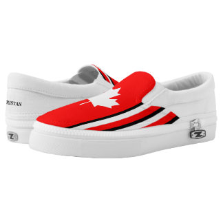 Canadian Maple on Red White Black (cust.) Printed Shoes