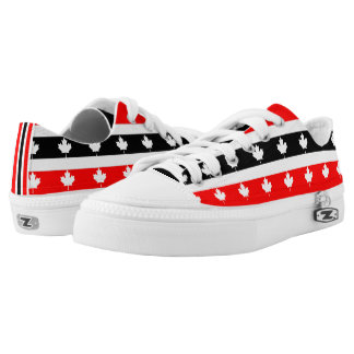 Canadian Maple on Red White Black Low Tops