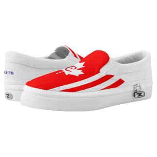 Canadian Maple on Red White  (cust.) Printed Shoes