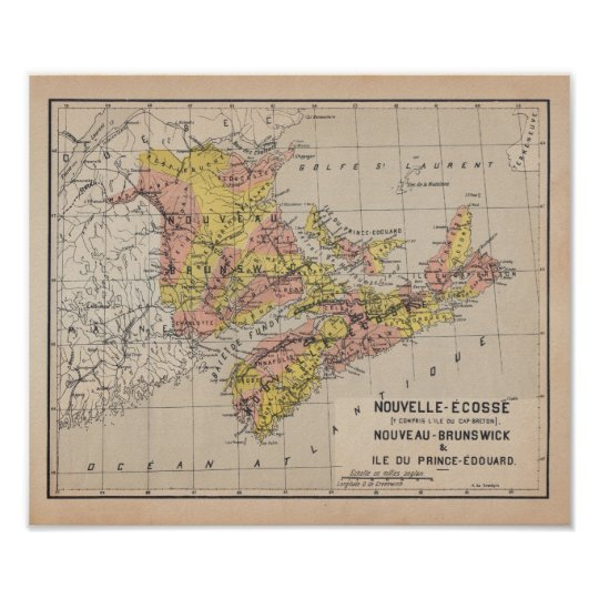 Canadian Maritime 1920 Ancient French Map Poster