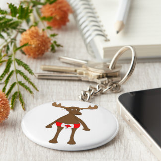 Canadian Moose Button Keychain