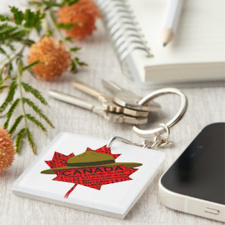 Canadian Mountie Hat on Red Maple Leaf Double-Sided Square Acrylic Key Ring