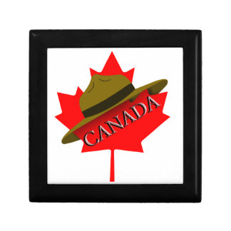 Canadian Mountie Hat on Red Maple Leaf Gift Box