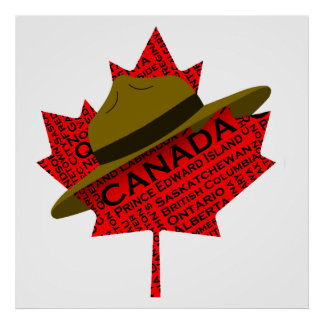 Canadian Mountie Hat on Red Maple Leaf Posters