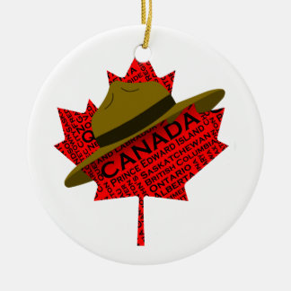 Canadian Mountie Hat on Red Maple Leaf Round Ceramic Decoration