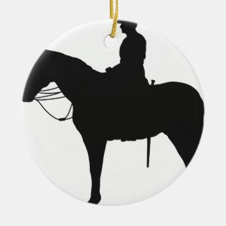 Canadian Mountie Silhouette Round Ceramic Decoration