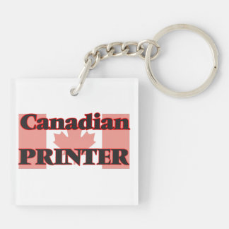Canadian Printer Double-Sided Square Acrylic Key Ring