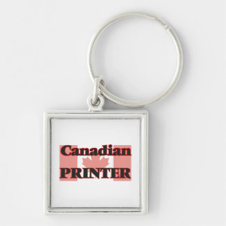 Canadian Printer Silver-Colored Square Key Ring