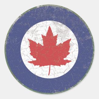 Canadian RAF Maple Leaf Roundel Rustic Classic Round Sticker