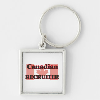 Canadian Recruiter Silver-Colored Square Key Ring