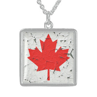 Canadian Red Maple Leaf CANADA Peeling Paint looks Square Pendant Necklace