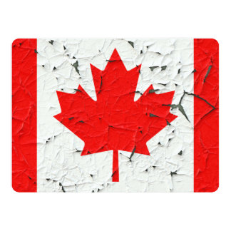 Canadian Red Maple Leaf CANADA Peeling Paint Print 17 Cm X 22 Cm Invitation Card