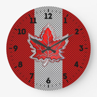 Canadian Red Maple Leaf in Carbon Fiber looks on a Large Clock