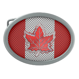 Canadian Red Maple Leaf in Carbon Fiber looks Oval Belt Buckle