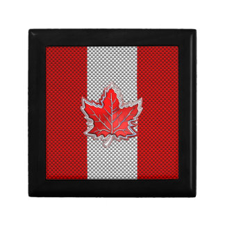 Canadian Red Maple Leaf in Carbon Fiber looks Small Square Gift Box