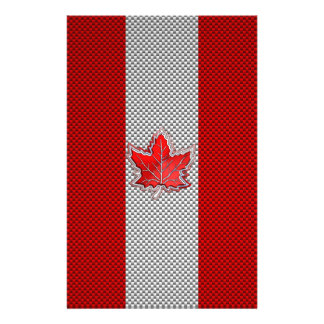 Canadian Red Maple Leaf on Carbon Fiber Print Personalized Flyer