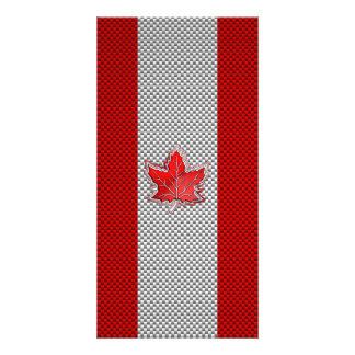 Canadian Red Maple Leaf on Carbon Fiber Print Personalized Photo Card