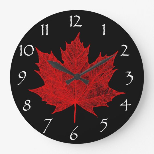 Canadian Red Maple Leaf/Red and Black Large Clock