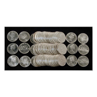 Canadian Silver Coin Stacks Poster