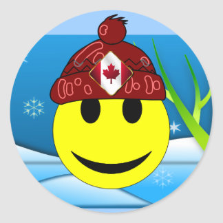 Canadian Smiley Classic Round Sticker