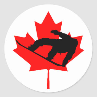 Canadian Snowboarder Classic Round Sticker